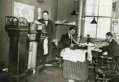 Two column printers by which stories were both received and sent to the offices of the London newspapers.