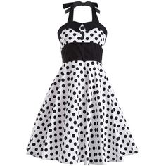 Polka Dot Halter Retro Fit and Flare Dress (39 BAM) ❤ liked on Polyvore featuring dresses, polka dot fit and flare dress, halter dress, halter-neck tops, dot dress and retro style dresses