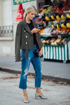 Tibi Admiral cropped peacoat Roger Vivier Micro Viv bag Charlotte Groeneveld The fashion guitar