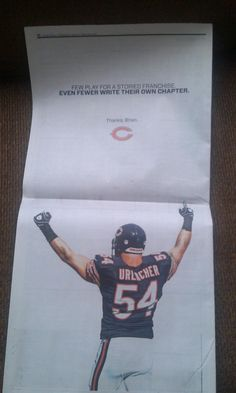 The Bears thanked Brian Urlacher with a full-page ad. Photo Credit: @Brad Biggs (Twitter)