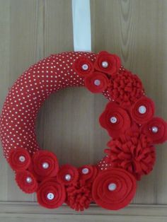 Pretty Red Valentine Floral Wreath, Country, Shabby Chic, Red Spotty Fabric