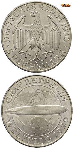 N♡T. Германия Веймар 5 марок 1930 А Граф Цеппелин UNC Вес (гр): 25 Диаметр (мм): 36 Качество чеканки: регулярное Металл: серебро 500-й пробы