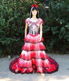 Dia de los Muertos Mexican Sugar Skull Bride / Spanish Dancer ...