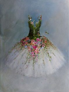 Roses Tutu painting RESERVED for Hilda original ooak ballerina fantasy fairy costume gown Hummingbirds Painting & Drawing, Dress Painting, Painting Inspiration, Fashion Art, Art Drawings, Art Projects, Art Photography, Decoupage, Canvas Art