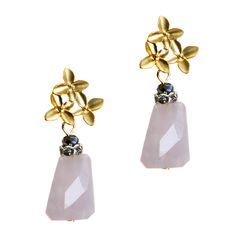 """The lovely Penelope earrings feature pink quartz stones dangling from a trio of matte gold four-petal flowers. - Quartz, gold metal  - 1.75"""" long  - Post closure"""