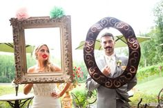 Photo booth props. What a great idea for a wedding outside in the english gardens @ The Kelly Gallery in Overland Park, KS. http://thekellygallery.com