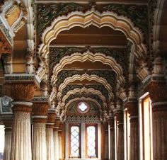 The intricately painted ceiling of Shinde's Chhatri in Pune, India