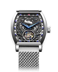 """Hong Kong Watch Manufacturer- Memorigin Releases """"Man of Steel"""" Tourbillon Ltd Edt Fine Watches, Cool Watches, Watches For Men, Unique Watches, Men's Watches, Man Of Steel, Ring Watch, Bracelet Watch, Superman Watch"""