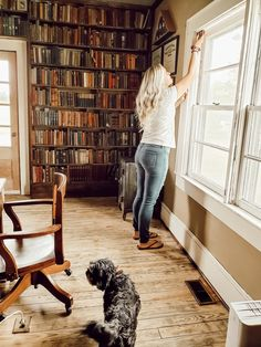 Perfect reading nook and library in old farmhouse. Owner installed uv-blocking window inserts to protect antique book collection. Whole House Fan, Window Inserts, American Farmhouse, Roof Installation, Mid Century Style, Library Books, Antique Books, Reading Nook, Historic Homes