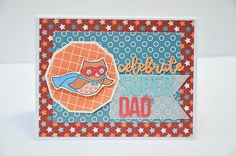 This super cute, super hero card by Grace Tolman is made with Glue Dots, the Critters In Costume stamp from Lawn Fawn, and Take Flight papers from Pink & Main. Banner Shapes, Whimsy Stamps, Super Dad, Dad Day, Glue Dots, Fathers Day Cards, Ink Pads, Pattern Paper, Diy Cards