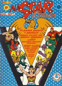 Wondy - ❤️ - All Star Comics (DC, CGC VF/NM Off-white to white pages. This Justice Society tale has Wonder Woman being appointed the official secretary of the JSA and an honorary member of the group. Star Comics, Dc Comics Art, Marvel Comics, Flash Comics, Comic Book Covers, Comic Books, Justice Society Of America, Wonder Woman, Black Dragon