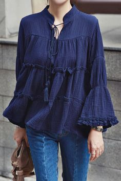 Ruffles Stand Neck Long Sleeve Blouse