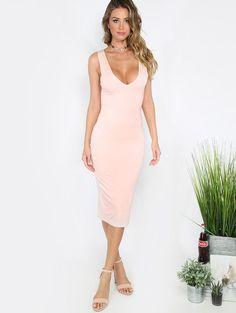 Pink Sleeveless Bodycon Midi Dress