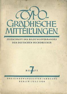 Cover Typographische Mitteilungen, 23. Jahrgang, Heft 7, Juli 1926.