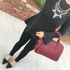 Bell sleeve peplum sweater, black ponte skinny ankle pants, black bow pumps, thea double zip burgundy satchel, crystal bib necklace, fall fashion, work outfit, click the photo for outfit details!