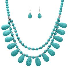 Natural Tone Turquoise Color Collar Layer Necklace + Earrings Set - LA COQUETA…