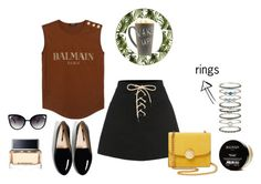 Sem título #41 by analuizajardim on Polyvore featuring polyvore fashion style Balmain Marc Jacobs Accessorize Givenchy House of Hackney clothing