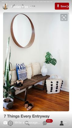 Neat Bohemian style entryway with bench, pillows, plants and mirror The post Bohemian style entryway with bench, pillows, plants and mirror… appeared first on Home Decor Designs Trends . Living Room Decor, Living Spaces, Dining Room, Interior Decorating, Interior Design, Room Interior, Decorating Games, Interior Architecture, Entryway Decor