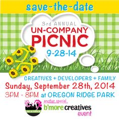 Save the date! Our 3rd annual UN-COMPANY PICNIC is 9/28 from 3 - 8 pm at Oregon Ridge Park