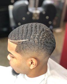 Black Men Hairstyles, Dope Hairstyles, Haircuts For Men, Short Wavy Hair, Short Hair Styles, Types Of Waves, Waves Haircut, 360 Waves, Tapered Haircut