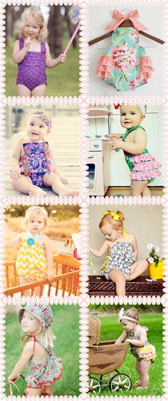 Love these!! Retro Ruffle Rompers, Handmade Playsuits, Sunsuits.