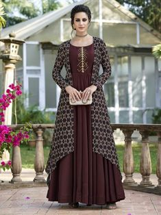 Redefined brown embroidered gown suit online which is crafted from tussar silk fabric with exclusive digital pints. Designer Gowns, Indian Designer Wear, Stylish Dresses, Fashion Dresses, One Piece Gown, Gown With Jacket, Jacket Style, Silk Jacket, Long Jacket Dresses