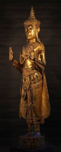 Royal Ayutthaya Crown Buddha in Bronze (item detailed views) Standing Buddha Statue, Buddha Head, Buddhist Art, Museum Collection, Art For Sale, Crowns, Bronze, Antiques, Antiquities