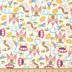 Unicorn Fantasy World Cream /Pink from @fabricdotcom  Designed for David Textiles, this cotton print fabric is perfect for quilting, apparel, crafts, and home decor items. Colors include magenta, green, teal, pink, white, brown and tan.