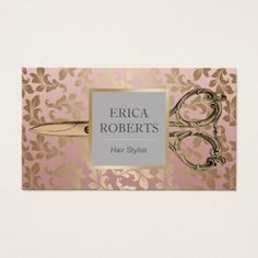 Hair Stylist Antique Scissor Rose Gold Damask Business Card