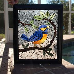 Stained Glass Mosaic Repurpose Frame Blue Bird by ARTfulSalvage, $165.00