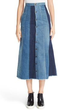 Free shipping and returns on Saint Laurent Patchwork Denim Midi Skirt at Nordstrom.com. Keeping with fashion's '70s revival trend, this A-line skirt features a pieced-denim construction in a mix of faded and dark-indigo washes. Snap-front styling and a mid-calf length heighten the retro nostalgia.
