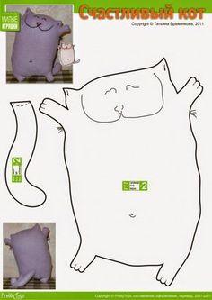 Sew Pattern S Of Stuffed Long Neck Kitty Cat