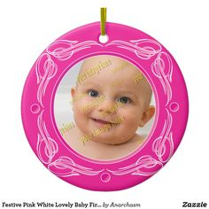 Festive Pink White Lovely Baby First Christmas Ceramic Ornament