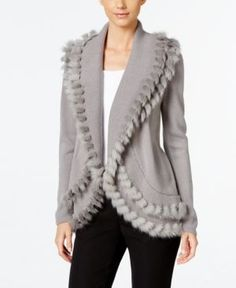 Alfani Petite Faux-Fur-Trim Cardigan, Only at Macy's - Gray P/S