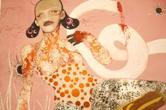 Wangechi Mutu challenges Western ideals of beauty by utilizing imagery from fashion magazines to create grotesque images of women that somehow are beautiful. I love this femme fatale. Bruce Jenner, Ideal Beauty, African Artists, Black Artists, Female Images, New Shows, Brooklyn, Disney Characters, Fictional Characters