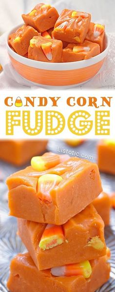 Easy Halloween Candy Corn Fudge Recipe -- Lots of easy Halloween treats and desserts here!