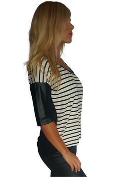 95% Cotton Striped Top. Beautiful Material and Sheer Black Back! Biker Chic Faux Leather.