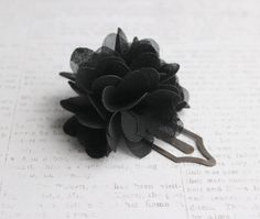 Antique Gold Metal Bookmark Clip with Black Flower Chiffon Poof by belleonabudget on Etsy