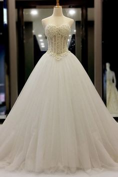 XP140 White organza sweetheart beading pearl A-line long prom dresses, wedding dresses