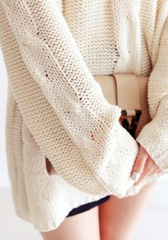 Shoulder Cut Out Sweater - Ivory