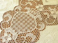 Vintage Needle Lace Tablecloth 12 Napkins Point Venise Embroidery 66x104 Unused   eBay