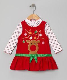 Red Reindeer Corduroy Bodysuit & Jumper