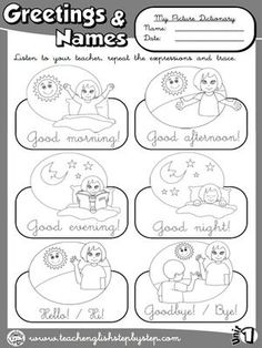 Greetings for kids worksheet free esl printable worksheets made by greetings and names picture dictionary bw version m4hsunfo