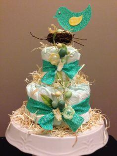 Mamma Bird Diaper Cake for Brooke's shower!