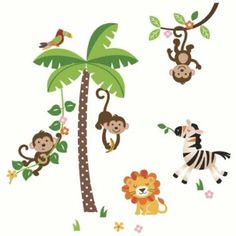 WALL STICKER DECAL FOR JUNIOR - Jungle Monkeys and Tree Giant Baby/Nursery Wall Sticker Decals for Boys and Girls