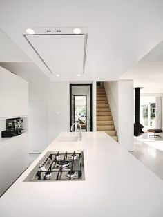 Give Your House a Facelift: Clean White Kitchen Interior Decor Idea Featured With Stainless Steel Equipments S. Kitchen Inspirations, House Design, Interior Design Kitchen, Interior Design, House Interior, Home Kitchens, Home, Interior, Modern Kitchen Design