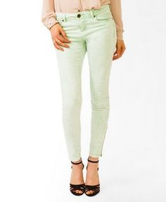 Colored Acid Wash Skinny Jeans | FOREVER21 - 2044421024
