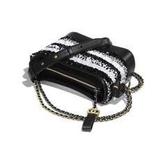 72b21fe0b025 CHANEL'S GABRIELLE Small Hobo Bag - White & Black - Sequins, Calfksin,  Silver