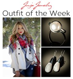"""OUTFIT OF THE WEEK! We call this outfit """"Country Snowgirl Chic"""". This look includes a white pea coat, plaid cashmere scarf, baby doll tunic over blue jeans and a red leather bag. Jinja Jewelry Match: we matched our elegant mother of pearl teardrop earrings with our mabe pearl ring. Submit your outfit on Pinterest or Facebook using #jinjajewelry and #outfitoftheweek and if selected, you will receive a $25 Jinja gift card, be featured in our newsletter, and on social media! #OutfitOfTheWeek"""