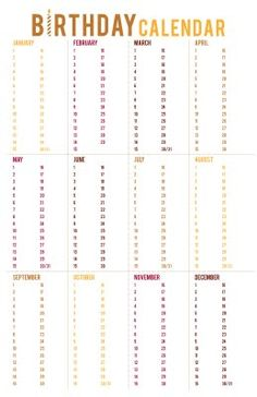 lemon squeezy: Colors revisited (free printable of an awesome birthday calendar Printable Planner, Free Printables, College Problems, Resident Assistant, Home Management Binder, Do It Yourself Home, Organization Hacks, Getting Organized, Good To Know